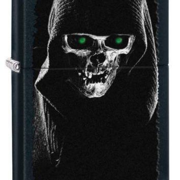 Zippo Hooded Skull Black Matte Finish Lighter Flint Ignition Windproof Flame
