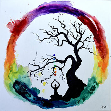 Rainbow Meditation Ring with healing tree, Original Painting, chakra, energy, yoga, rainbow, om, ohm, canvas, zen