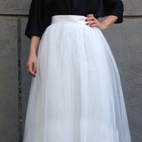 White Layered Pleated Tulle Ball Gown Maxi Skirt