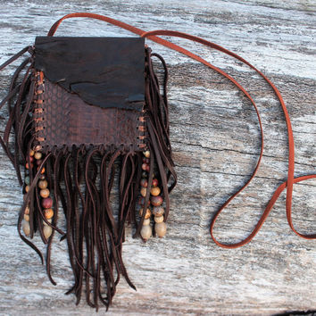 Snake Skin Medicine Bag, Rustic Brown Goat Leather, Boa Snake Skin, Various Jasper Beads, Beaded Fringed Shamanic Necklace Pouch