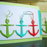Nautical Love Card, Friendship Card, Anniversary Card, You Are My Anchor, Valentine Card, BFF Card