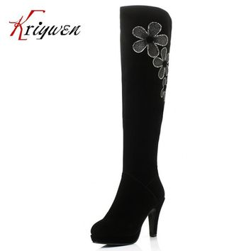 Big Size34-40 Women's Spring/Autumn Winter Folding Over Knee Boots Sexy Thin High Heel