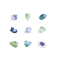 Gemstones Geodes Rocks Assorted Watercolor Print
