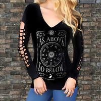 Gothic Style Fashion Women Print V Neck Long Sleeve Top Blouse Tee Pullover T-Shirt [8323379457]