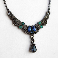 Vintage Dark Grey/Black Victorian Necklace with Blue and Blue Green Gemstones