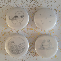 Alien ink drawrings set of 4 pin back badges/buttons
