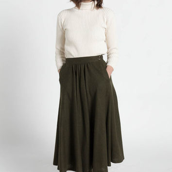 Vintage 70s Olive Green Wool Full Pleated Midi Skirt with Pockets | 4