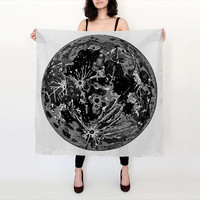Moon Scarf - Celestial Print -  Black and White - Graphic Scarf - Silk Scarf