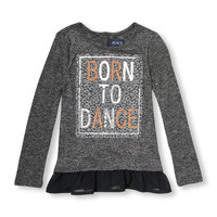 Girls Long Sleeve Embellished Graphic Ruffle Snit | The Children's Place
