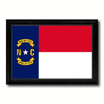 North Carolina State Flag Canvas Print with Custom Black Picture Frame Home Decor Wall Art Decoration Gifts