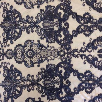 Sequin Embroidered Lace Royal King Antique Fabric