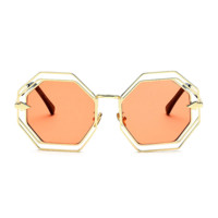 Geometric Patterned Sunglasses Orange
