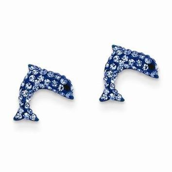 14k Yellow Gold Crystal Blue Dolphin Post Earrings
