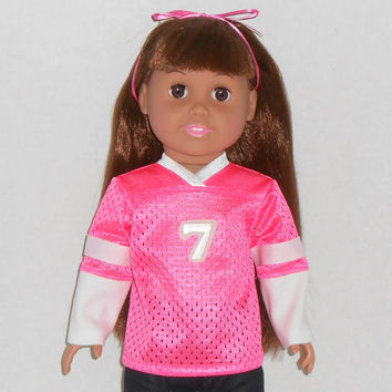 American Girl Doll Pink Football Jersey with Long Sleeves fits 18 inch dolls