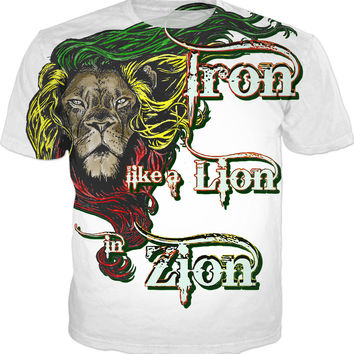 Iron, like a Lion in Zion... Men fit t-shirt, reggae music, classic song quote