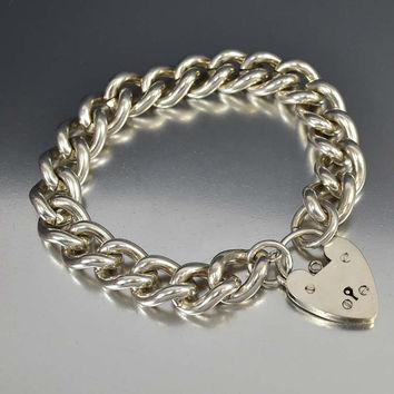 English Silver Curb Chain Heart Padlock Bracelet ON HOLD