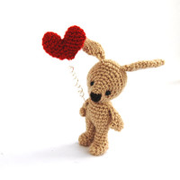 amigurumi small bunny with red heart, crocheted miniature rabbit, amigurumi tiny bunny, gift for her  little bunny doll home decor beige red