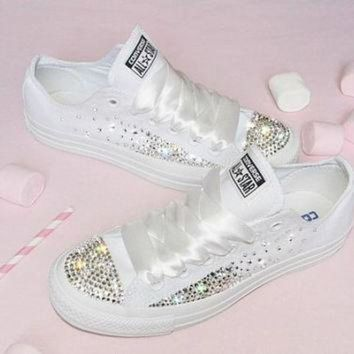 ICIKGQ8 customised crystal white low top all star converse canvas blinged crystal sides toes