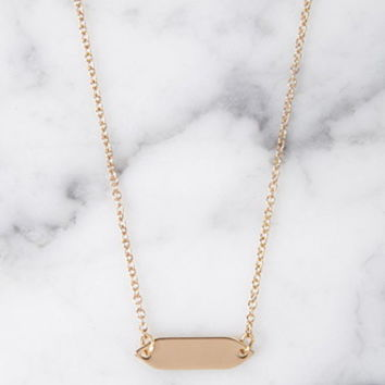 Plated Bar Charm Necklace