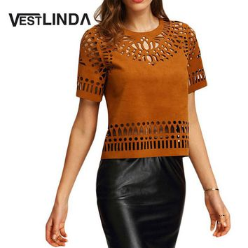 VESTLINDA T Shirt Women Ethnic Hollow Out T-Shirt Summer Boho Faux Leather Suede Back Zipper Cut Out Short Sleeve Tshirt Top