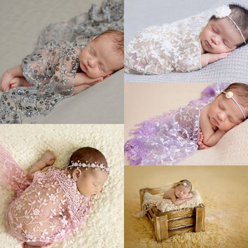 Photography Quilt Swaddle Wraps Embroidery Newborn Maternity Props Baby Soft Mesh Lace scarf Photo Props