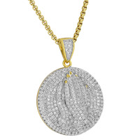 Praying Hands Round Pendant Coin Iced Out Simulated Diamond 18K Gold Plate Chain
