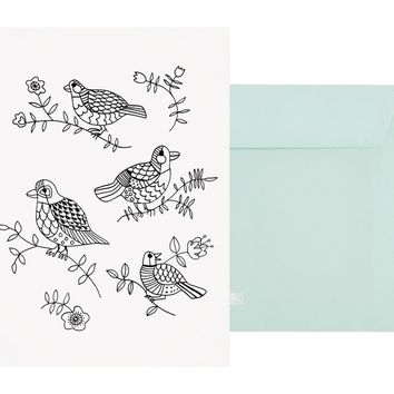 A5 COLOURING GREETING CARD BIRDS: MINDFUL