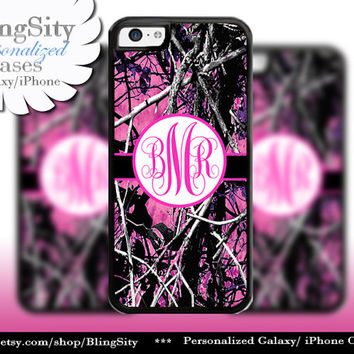 Camo Hot Pink Monogram iPhone 5C 6 Plus Case iPhone 5s 4 case Ipod muddy Realtree Personalized Country Inspired Girl