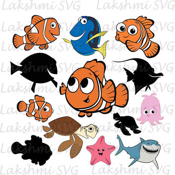 Nemo SVG, Finding Nemo Clip art files, Disney Movie Nemo Svg, dxf, eps & png files, Nemo cutfiles, Cuttable nemo vectors, cricut, silhouette