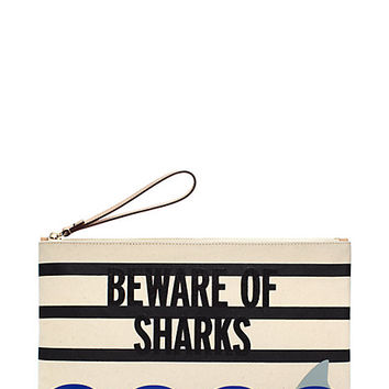 Kate Spade Splash Out Beware Of Sharks Bikini Pouch Beware Of Sharks