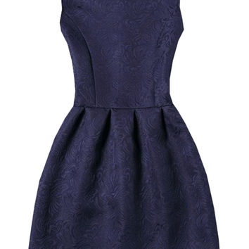 Navy Sleeveless Jacquard A-Line Dress | MakeMeChic.COM