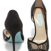 Blue by Betsey Johnson Grace Black Lace D'Orsay Heels