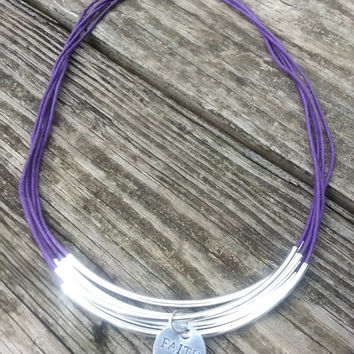 Silver Curved Tube Bead Necklace for Women and Girls feat. Wax Cotton Cord and Hand Stamped Positive Affirmation Charm (Made in USA)