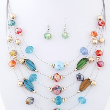 Beautiful Beaded Necklace and Earring Set