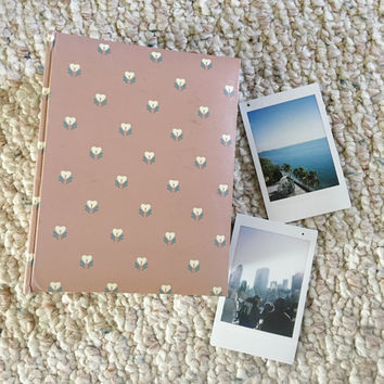 Small Photo Album Pink Flower Print Vintage