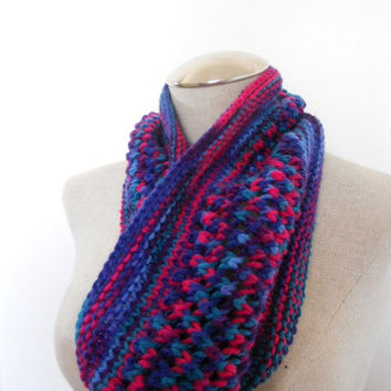 SPRING SALE!!  Knit Cowl in shades of pink, blue and purple, neckwarmer, scarf in yarn. Womens Accessory Winter Fashion