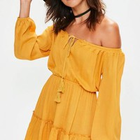 Missguided - Yellow Ruffle Hem Tassel Waisted Bardot Dress