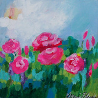 "Small Abstract Floral, Pink, Blue, Flowers, ""Stop and Smell the Roses"" 8x8"