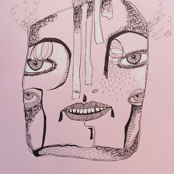 Outsider Art Drawing - Folk Art Illustration- Art Brut - Pink Black Art - Pink Face - Primitive Drawing - Primitive Portrait - Quirky Face