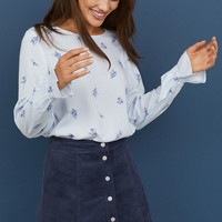 Patterned Viscose Blouse - Light blue/white striped - Ladies | H&M US