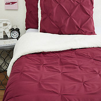 Full/Queen Pleated Sherpa Comforter 3-Piece Set