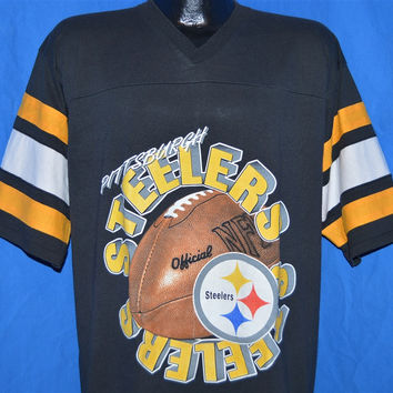 80s Pittsburgh Steelers Striped Jersey t-shirt Large