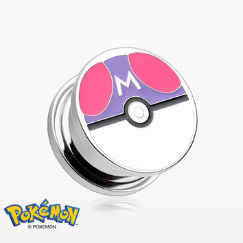 A Pair of Master Ball Pokemon Screw-Fit Ear Gauge Plug