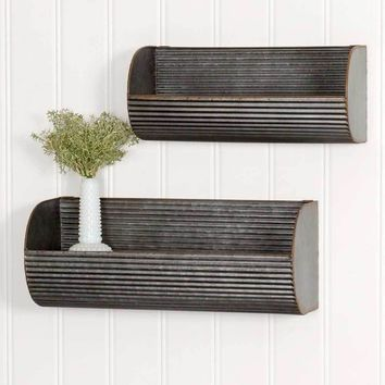 Primitive Vintage Set of Two Long Corrugated Wall Displays Home Decor