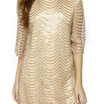 Golden Cut Out Sequined Chevron Scallop Hem Backless Dress