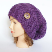 Slouchy beanie hat purple slouch hats beanies plum accessory for women chunky knitted hat irish handknit hats wool with button