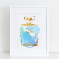 2 sizes Chanel watercolour art print in blue / gold effect, A5 5x7 & A4 8.5x11 downloadable Coco Chanel art print Chanel, Chanel No5 poster