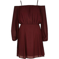 River Island Womens Dark red lightweight crepe bardot dress