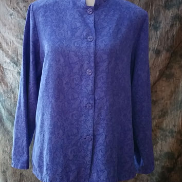Sag Harbor Soft Purple Shirt Jacket Asian Inspired Size 16 Printed Long Sleeve