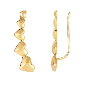 14K Yellow Gold Graduated Heart Series Climber Earrings